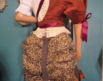 Green and orange cotton blockprint Sari bustle, one size,  steampunk, victorian, bellydance