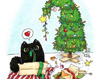 Christmas Chaos Kitty - Holiday Art Print - 5x7