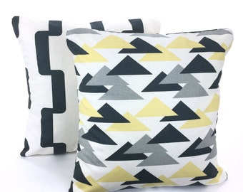 SALE Yellow Gray Pillow Covers Decorative Throw Pillow Cushions Charcoal Grey Saffron Yellow Rhyme Jacklyn Couch Set of Two Various Sizes