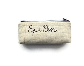 Epi Pen Bag - Handmade Zipper Pouch - Notebook Paper Fabric - Travel Bag - Epipen Holder - Epinephrine Injector Carrier - Drug Pen Holder
