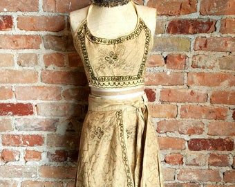 vintage 90s two piece wrap skirt and halter top set Indian embroidered rayon hippie boho festival tan