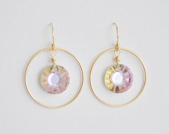 Sun Crystal Circle Earrings - light purple vitrail swarovski crystal handcrafted gold filled hoop dangle drop hook wedding and sparkle