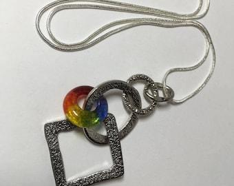 Lifesaver Bead Necklace LGBT - Gay Pride Jewelry Handmade Glass Charm Pendant -