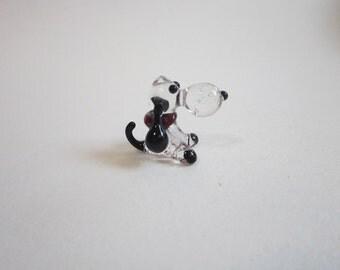 vintage blown glass miniature beagle - blown glass dog - mini glass dog - blown glass animal