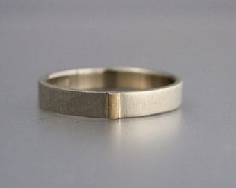 Two Tone Gold Unisex Wedding Band - 3mm-8mm Wide Flat 14k White Gold Wedding Ring with Yellow Gold Bar
