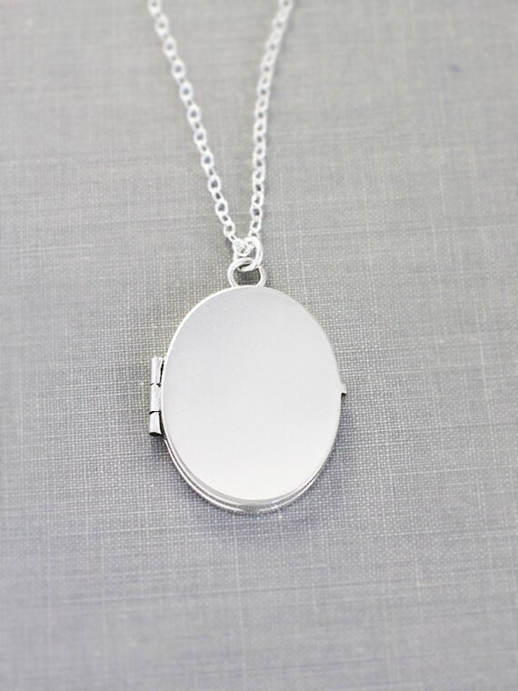 Modern Sterling Silver Locket Necklace, Oval Plain Polished Photo Pendant - Reflection