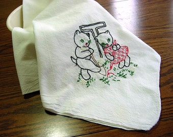 Vintage Embroidered Kitty Cats on Large Feedsack Cotton Kitchen Dish Tea Towel or Table Topper Planting the Flower Garden!