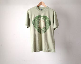 vintage VANCOUVER CANADA museum of anthropology mint GREEN faded size medium t-shirt