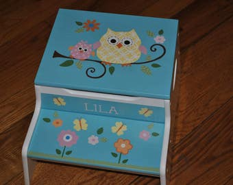 New For 2017-Kids Step Stool-Owl Family with Butterflies & Flowers-Childrens Step Stool-Hand Painted-Baby Shower-Kids' Furniture-Chair-Baby