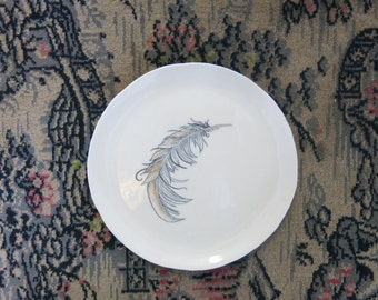 Ceramic Art Plate Woodland Bird Feather Hand Drawn One of a Kind Gift Idea Home Decor, Handmade Artisan Pottery by Licia Lucas Pfadt