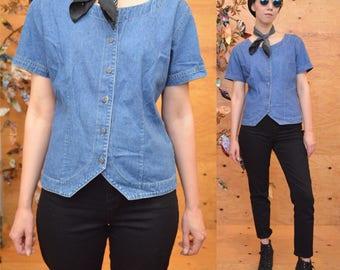 90's button down denim jean shirt S