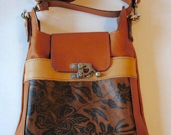 "Leather purse, medium cross body,caramel ,tan ,floral print ,""the Madrid"""