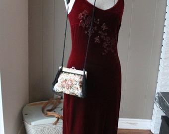 Art Deco Style Vintage Embroidered Purse Kiss Lock Shoulder Bag Evening Purse Pink Roses Antique