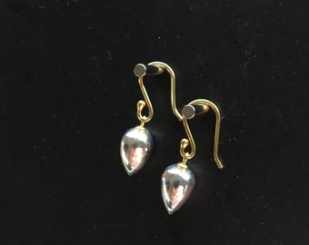 Pyrite Earrings Tear Drop Earrings Silver Earrings Fools Gold Drops Fine Jewelry Dangle Earrings Jewelry Gift For Her Under 100 Under 60