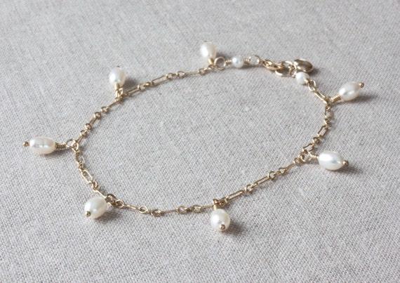 Gold Ankle Bracelet, Pearl Anklet, Charm Anklet, Gold Chain Bracelet, White Pearl Bracelet, Freshwater Pearl Bracelet, Gold Filled Jewelry