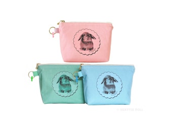 Orange Apollo's Flat Bottom Zipper Pouch for Bunny Lovers (You Pick the color!)