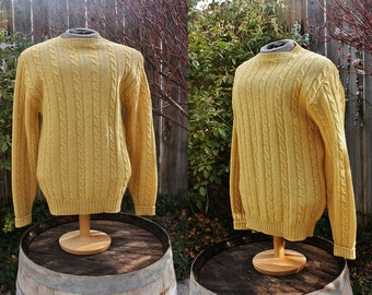 1980's Men's Gold Yellow Ochre Mustard Wool Sweater Pullover Large Jantzen Vintage Retro 80s Cable Stitching Hipster Preppy Winter Fall
