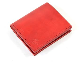 Vegetable Tanned Red Leather Bi Fold Card Bill Wallet Handmade