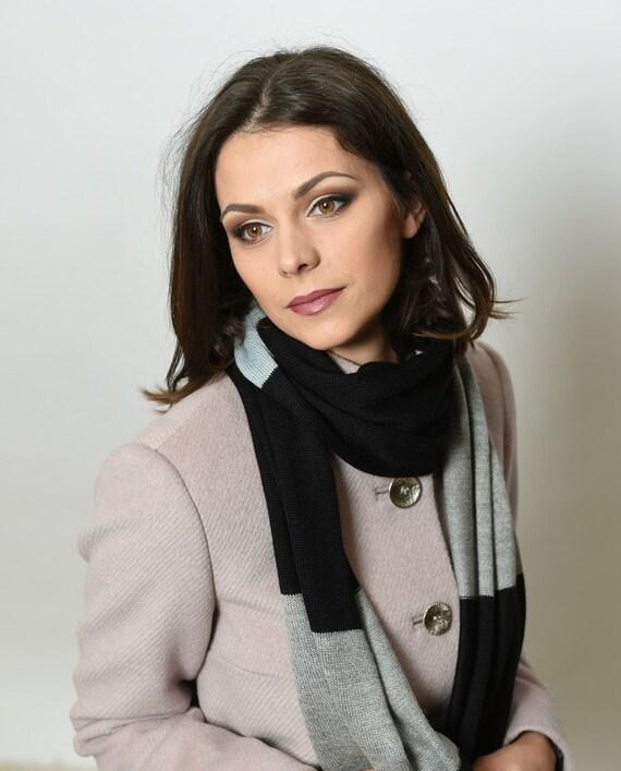 Alpaca scarf, Long Silk scarf, knitted scarf, black silk scarf, warm scarf, winter scarf, neck warmer, striped scarf