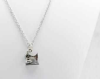 Silver Sewing Machine Necklace - Seamstress Necklace, Sewing Machine Jewelry, Tailor Necklace, Clothing Designer Necklace, Cosplay Necklace