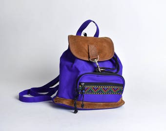 Purple Nylon and Suede Backpack with Geometric Accent and Convertible Zipper Shoulder Straps