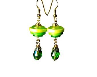 Button Jewelry, Green Dangle Earrings, Repurposed Recycled Upcycled Jewelry,  Button Dangle Earrings