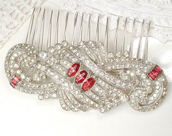1930s Red Brooch or Bridal Hair Comb, Vintage Art Deco Ruby Rhinestone Silver Wedding Dress Sash Belt OR Hair Piece Great Gatsby Headpiece