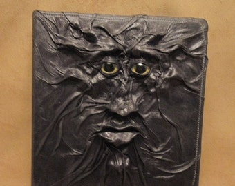 """Grichels leather large 3-ring binder - """"Flazedat"""" 29346 - black with yellow carousel horse eyes"""