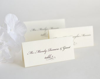 Wedding Place Cards, Name Cards, Classic Place Cards, Script Place Cards, Elegant Wedding Place Cards - Elegantly Charming Place Cards