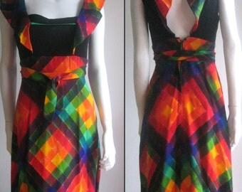 60s 70s vintage rainbow dress psychedelic