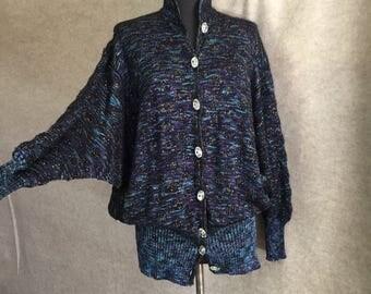Vintage 80's Sweater, Dolman Sleeve Sweater, Vintage Black Cardigan, Black Purple Blue Metallic Lurex, Hand Knit, Size Small to Medium