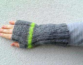 Long Fingerless Gloves, Neon Green Striped Gloves, Hand Knitted Grey Gloves Lime Stripe, Winter Fashion Unisex Gloves, Gift College Student