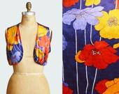 Vintage 60s Floral Velvet Vest / 1960s Hippie Boho Navy Yellow Red Bohemian Sleeveless Medium