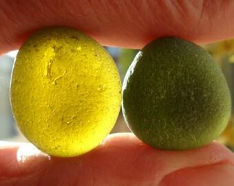 Greens - Beautiful English Seaham Sea Glass - Free Shipping (5070)