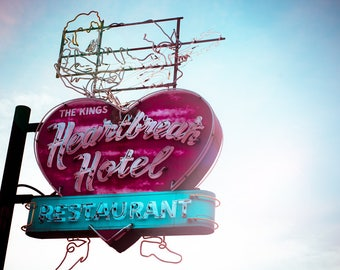 Elvis Presley, Heartbreak Hotel,  Fine Art Photography, Neon Sign, Retro Art, Man Cave Decor, Rock n Roll Decor, The King, Gift for him