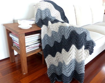 Knit Throw hand knit blanket Black gray knit Afghan throw knee rug
