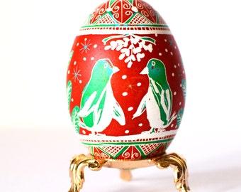 will you be my  penguin kissing under mistletoe super duper cute egg ornament
