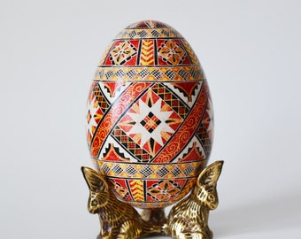 Christmas gift for Mom and Dad Goose Pysanka Ukrainian Easter egg decorated shell batik art