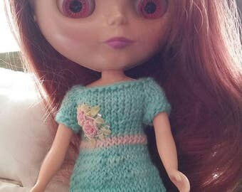 Blythe Dress & Headband Aqua Hand Knit and Embroidered
