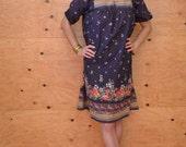 Reserved For Basil Vintage 70's Style Caftan Dress In Purple Floral Folk Print SZ S/M