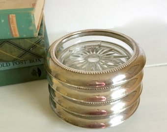 Vintage Silver & Glass Coasters ,B-I Sterling, Set of Four, Housewarming Gift