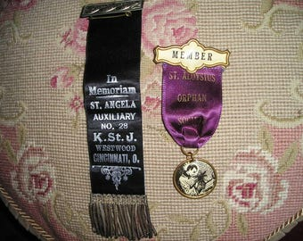 Vintage Memorian Religious Order of Odd Fellows Christian Padge/Pin.Temple Ribbon