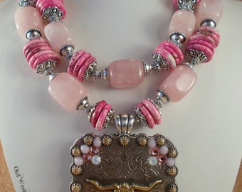 Cowgirl Necklace Set - Chunky Rose Quartz and Pink Howlite - Crystal Texas Longhorn Concho Pendant