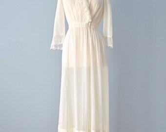 Vintage Edwardian Lawn Dress...Darling Semi Sheer Cotton Edwardian Dress