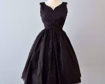 RESERVED Vintage 1950s Party Dress...CANDY Jrs. Black Lace Party Dress Cocktail Dress LBD