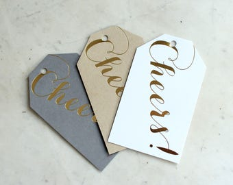 """gold foil """"Cheers!"""" gift / wine / present / champagne / tags - neutral pack (grey, kraft paper and white)"""
