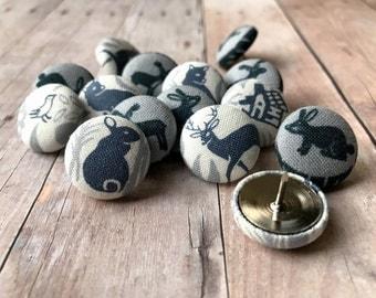 Push Pins,Pushpins,Thumb Tacks,15 Thumbtacks,Deer,Buck Heads,Foxes,Rabbits,Office Decor,House Warming Gift,Home Decor,Gifts Under 20