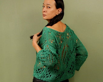 Summer Crop Sweater, Off Shoulder Sweater, Knit Lace Top, Crop Top, Green Sweater, Cozy, Cotton Tunic, Top, Knit Loose Sweater, Knit Jumper