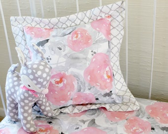 Watercolor peonies pillow ,Pink and gray nursery decor,decorative throw pillow, Floral crib bedding and matching accessories for girls room