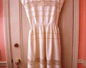 1940s Youth Guild Cream Rayon Dress - Lace Insets - AS IS - Sleeveless